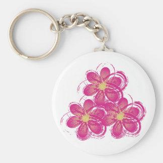 vintage artsy pink flowers basic round button keychain