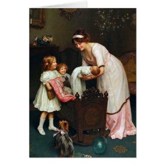 Vintage Artwork - Big Sisters and Baby, Card