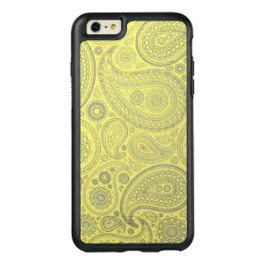 Vintage Ash colored Paisley on yellow background OtterBox iPhone 6/6s Plus Case