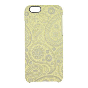 Vintage Ash white paisley on yellow background Clear iPhone 6/6S Case