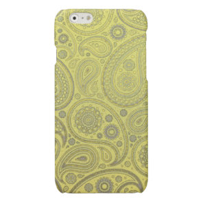 Vintage Ash white paisley on yellow background Glossy iPhone 6 Case