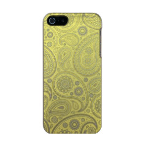 Vintage Ash white paisley on yellow background Metallic Phone Case For iPhone SE/5/5s