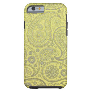 Vintage Ash white paisley on yellow background Tough iPhone 6 Case