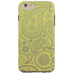 Vintage Ash white paisley on yellow background Tough iPhone 6 Plus Case