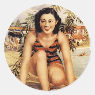 Vintage Asian Beautiful Asian Woman Women Classic Round Sticker