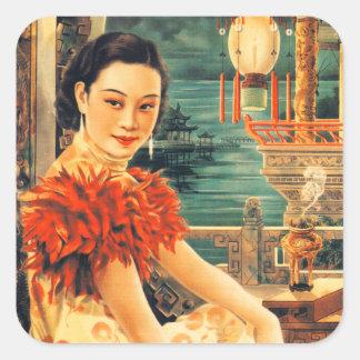 Vintage Asian Beautiful Asian Woman Women Square Sticker