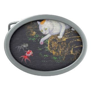 Vintage Asian Cat catching Fish Belt Buckles