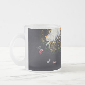 Vintage Asian Cat catching Fish Frosted Glass Coffee Mug