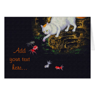 Vintage Asian Cat catching Fish Greeting Card