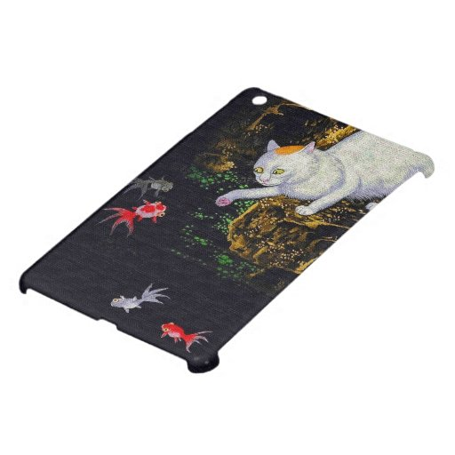 Vintage Asian Cat catching Fish iPad Mini Covers