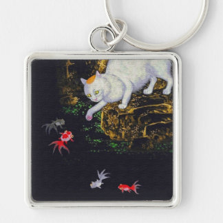 Vintage Asian Cat catching Fish Keychain