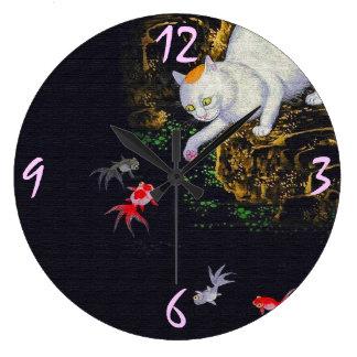 Vintage Asian Cat catching Fish Large Clock