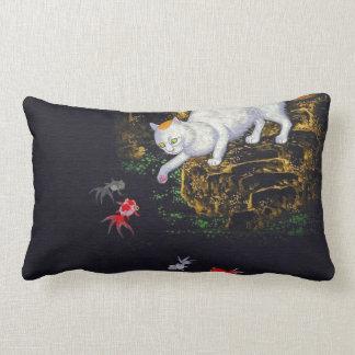 Vintage Asian Cat catching Fish Lumbar Pillow