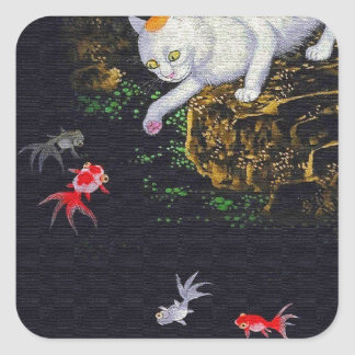 Vintage Asian Cat catching Fish Square Sticker