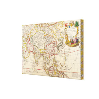 Vintage Asian Map Stretched Canvas Prints
