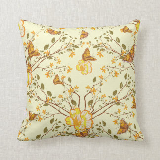 Vintage Asian Monarch Butterfly Throw Pillow