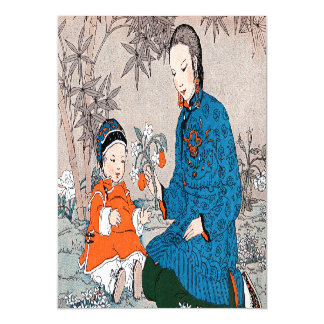 Vintage Asian Mother Baby Flowers Mother's Day Magnetic Card