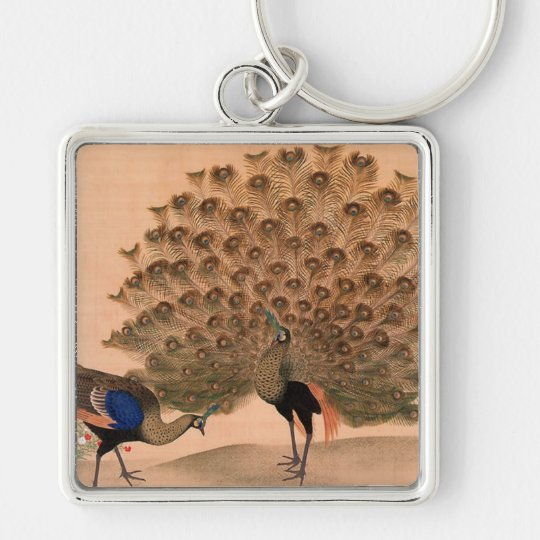 Vintage Asian Peacocks Keychain