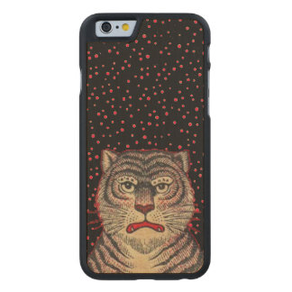 Vintage Asian Striped Fierce Tiger Carved Maple iPhone 6 Case