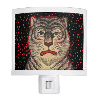 Vintage Asian Striped Fierce Tiger Night Light