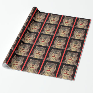 Vintage Asian Striped Fierce Tiger Wrapping Paper