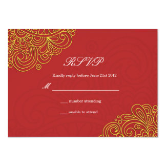 Vintage Asian Swirl Wedding RSVP Card
