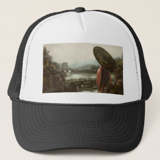 Vintage Asian Woman in Traditional Attire Trucker Hat