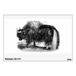 Vintage Asian Yak Retro Yaks Animal Illustration Wall Sticker