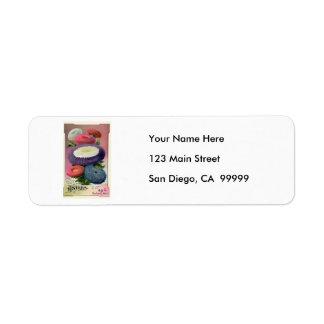 Vintage Assorted Asters Seeds Return Address Label