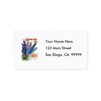 Vintage Assorted Delphiniums Seed Packet Address Label
