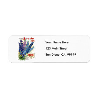 Vintage Assorted Delphiniums Seed Packet Return Address Label