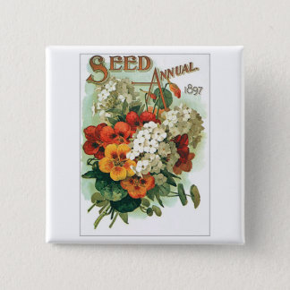 Vintage Assorted Flowers Seed Packet Button