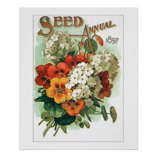 Vintage Assorted Flowers Seed Packet Poster