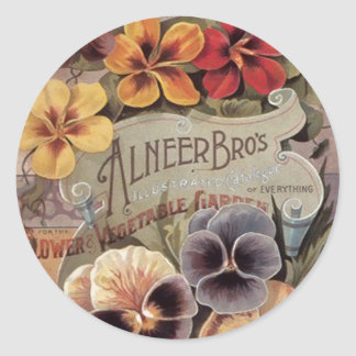 Vintage Assorted Pansies Seed Packet Classic Round Sticker