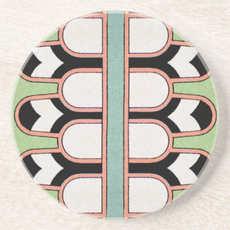Vintage Assyrian Art Deco Geometric Pattern Mint Drink Coaster