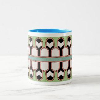 Vintage Assyrian Art Deco Geometric Pattern Mint Two-Tone Coffee Mug