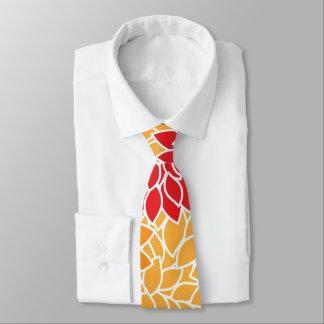Vintage aster flowers. orange, yellow, red, girly tie