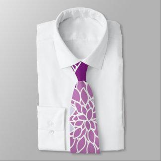Vintage aster flowers. purple, lilac, dark violet neck tie