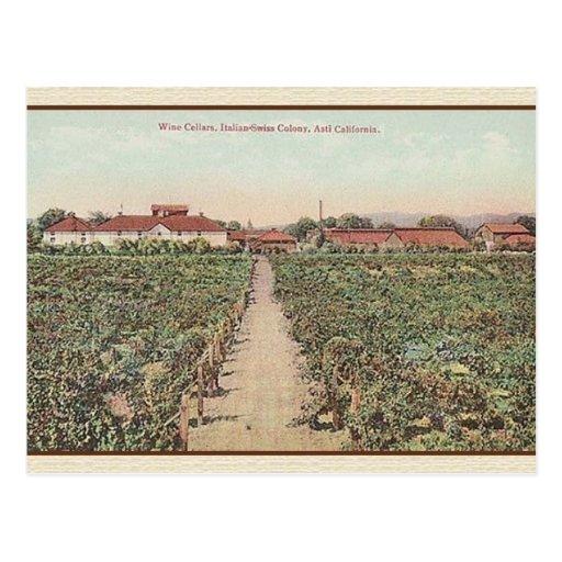 Vintage Asti California Wine Cellars Post Card Zazzle