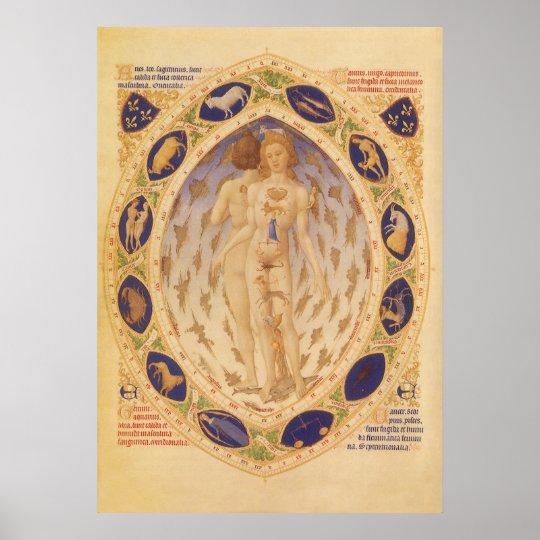 Vintage Astrology, Antique Celestial Zodiac Chart Poster
