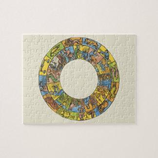Vintage Astrology, Antique Celestial Zodiac Wheel Jigsaw Puzzle