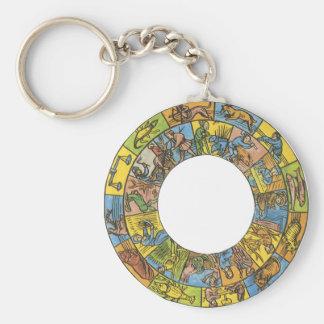 Vintage Astrology, Antique Celestial Zodiac Wheel Keychains