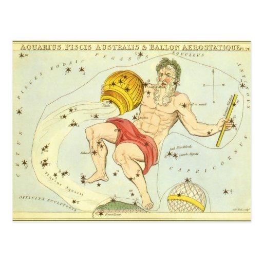 Vintage Astrology Aquarius Constellation Zodiac Postcard