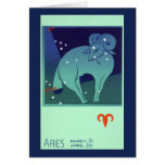 Vintage Astrology Aries Ram Constellation Zodiac Greeting Cards