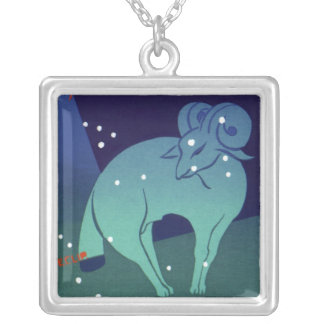 Vintage Astrology Aries Ram Constellation Zodiac Personalized Necklace