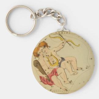 Vintage Astrology / Astronomy Gemini constellation Basic Round Button Keychain