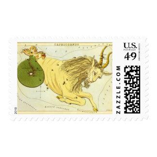 Vintage Astrology Capricorn Constellation Zodiac Postage Stamp