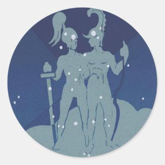 Vintage Astrology Gemini Twin Constellation Zodiac Round Sticker
