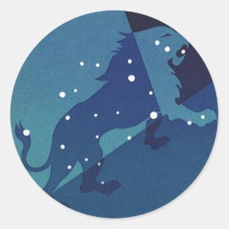 Vintage Astrology Leo Lion Constellation Zodiac Round Sticker