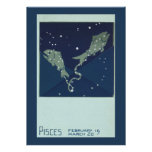 Vintage Astrology Pisces Fish Constellation Zodiac Personalized Invite